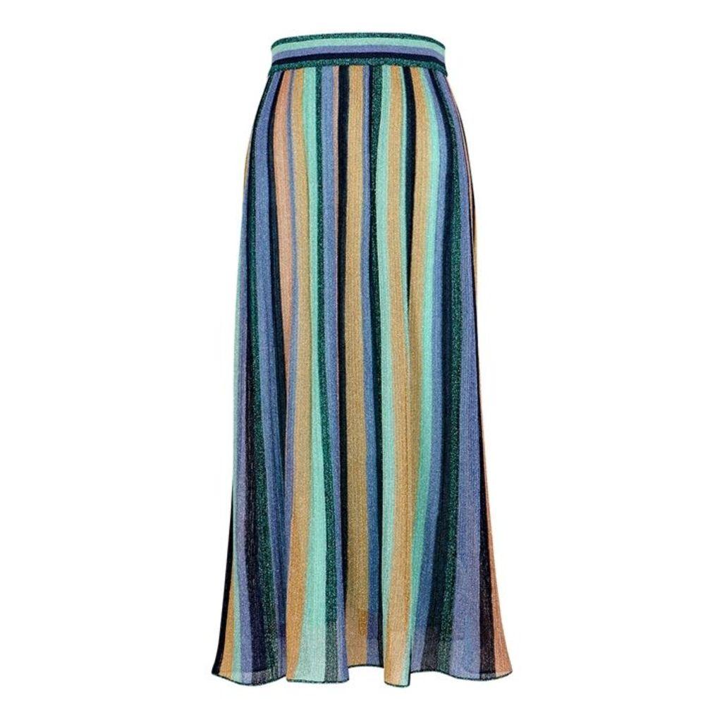 M Missoni Striped Metallic-knit Midi Skirt