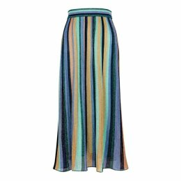 M Missoni Striped Metallic-knit Midi Skirt