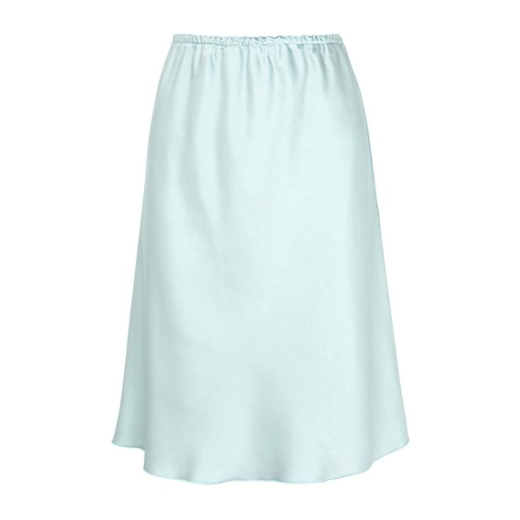 ALEXACHUNG Light Blue Bias-cut Satin Skirt