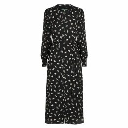 ALEXACHUNG Black Printed Midi Shirt Dress
