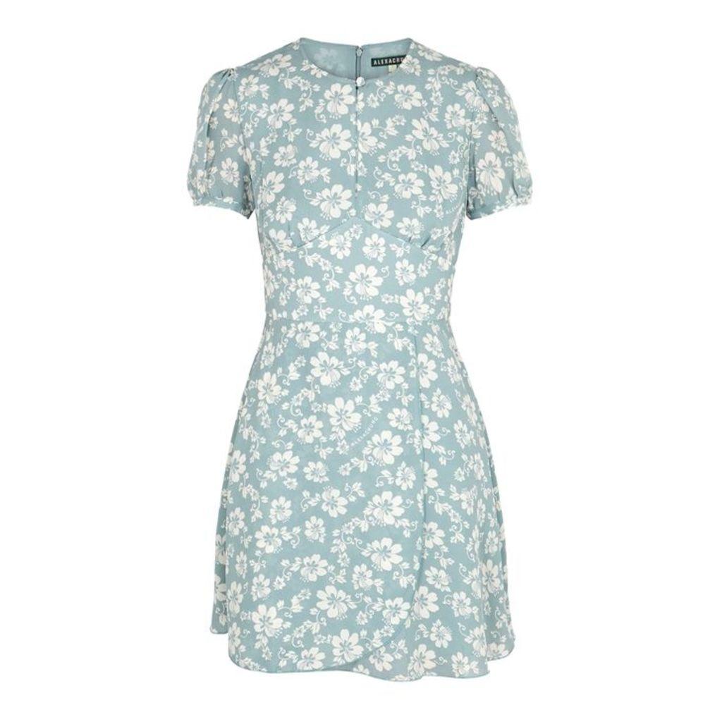 ALEXACHUNG Blue Floral-print Mini Dress
