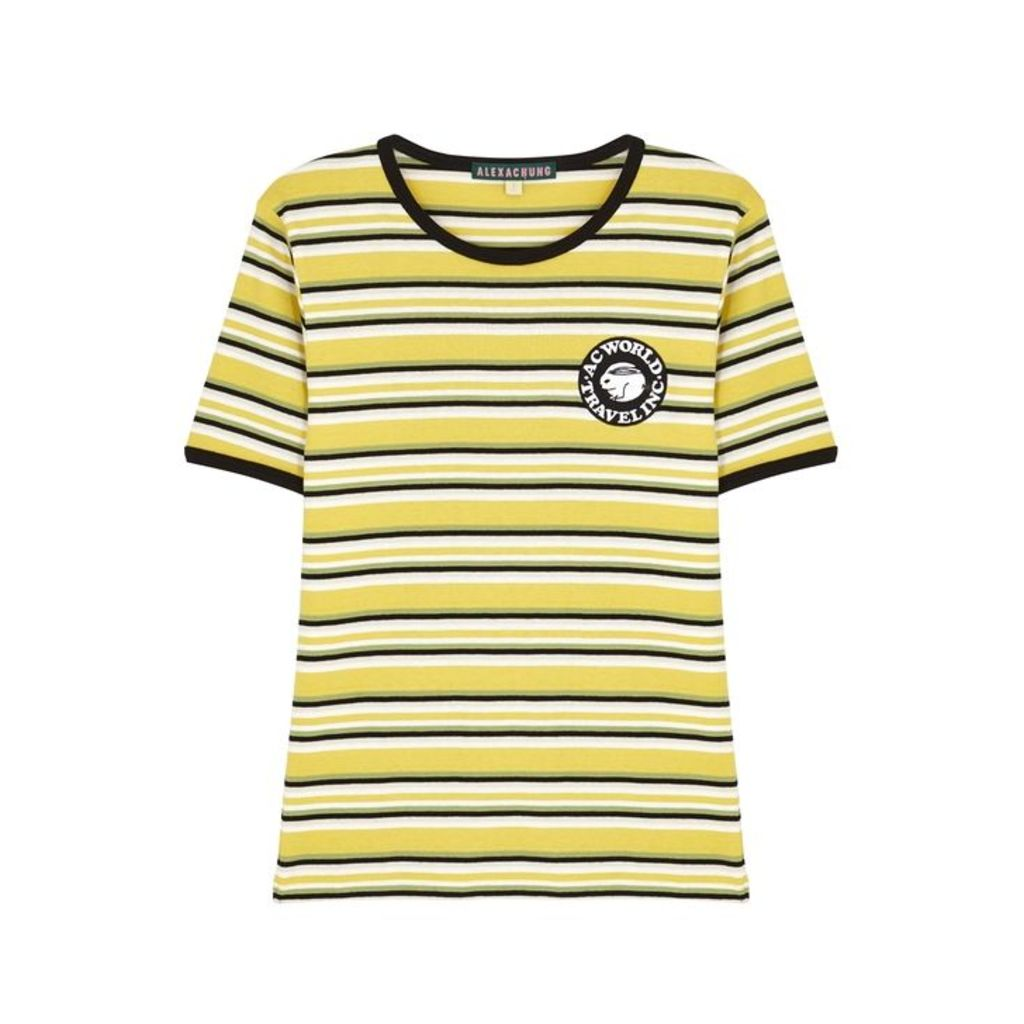 ALEXACHUNG Striped Cotton T-shirt