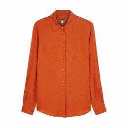 ALEXACHUNG Terracotta Floral-jacquard Satin Shirt