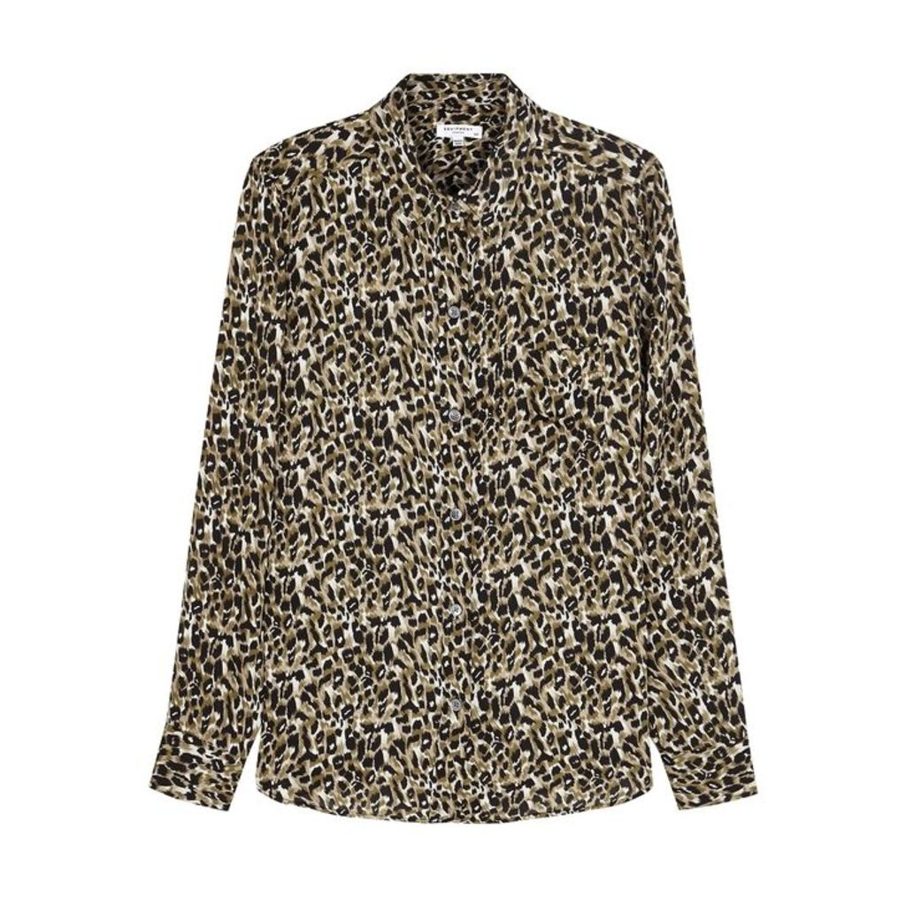 Equipment Brett Leopard-print Matte Satin Shirt