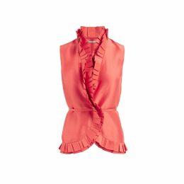WtR - Elise Pink Ruffled Wrap Blouse