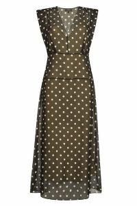 Theory Polka Dot Silk Midi Dress