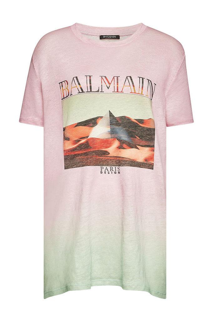 Balmain Printed Linen T-Shirt