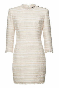 Balmain Tweed Mini Dress with Embossed Buttons
