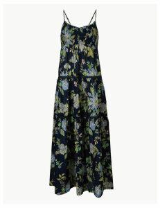 Per Una Pure Cotton Floral Print Midi Swing Dress