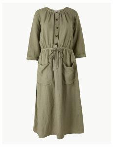 Per Una Linen Blend 3/4 Sleeve Waisted Midi Dress