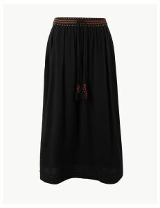 Per Una Pure Cotton A-Line Midi Skirt
