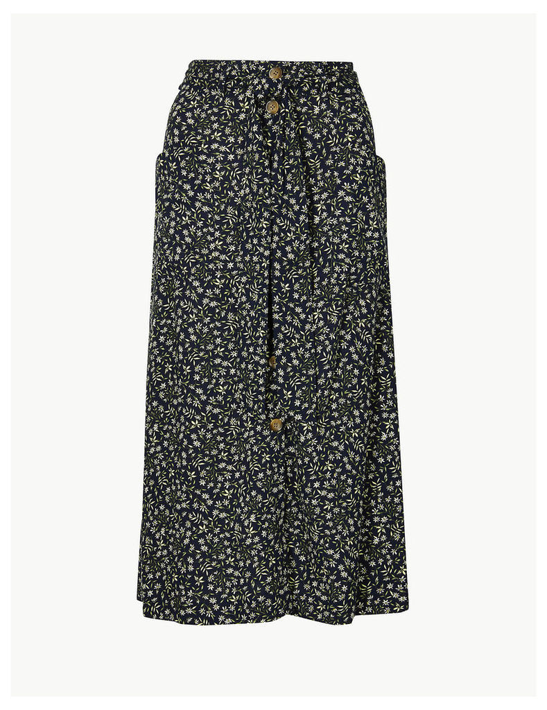 Per Una Floral Print Pleated Midi Skirt