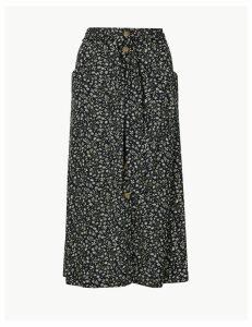 Per Una Floral Print Pleated Midi Skirt