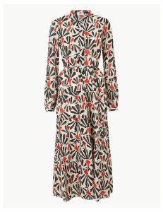 Per Una Tiered Floral Print Shirt Midi Dress