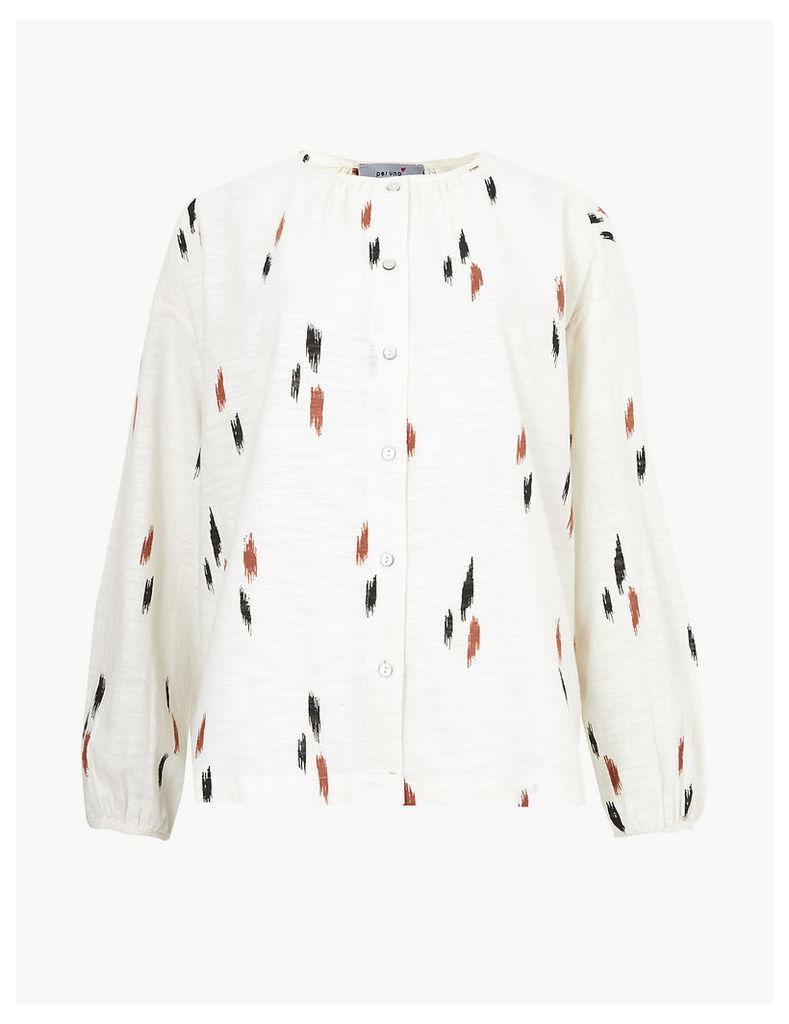 Per Una Pure Cotton Printed Button Through Blouse
