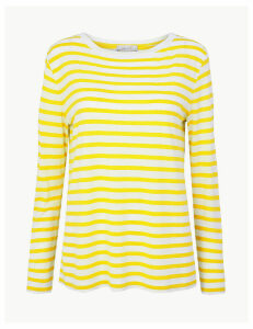 Per Una Striped Long Sleeve T-Shirt with Linen