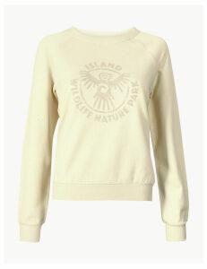 Per Una Pure Cotton Island Wildlife Print Sweatshirt