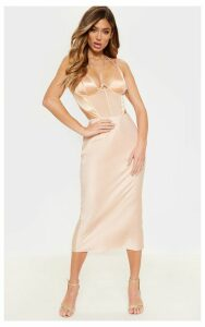 Champagne Midi Satin Skirt, Yellow