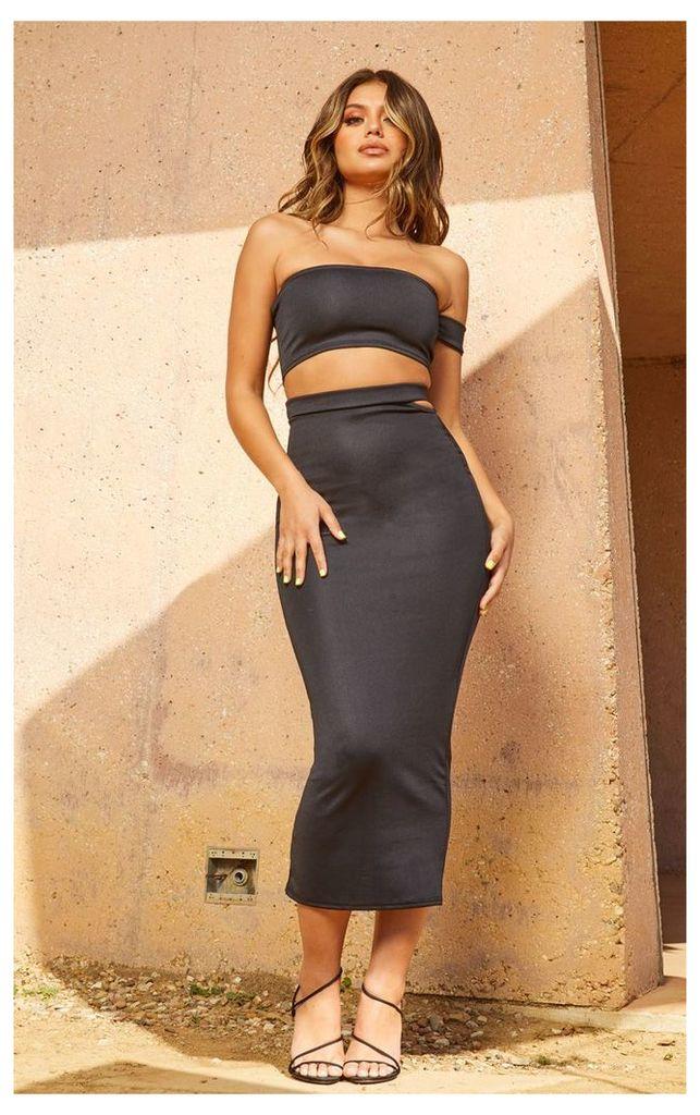 Black Second Skin Cut Out Midi Skirt, Black