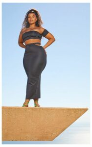Plus Black Second Skin Cut Out Midi Skirt, Black
