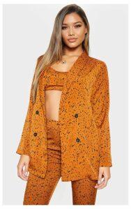 Rust Dalmatian Print Longline Woven Blazer, Orange