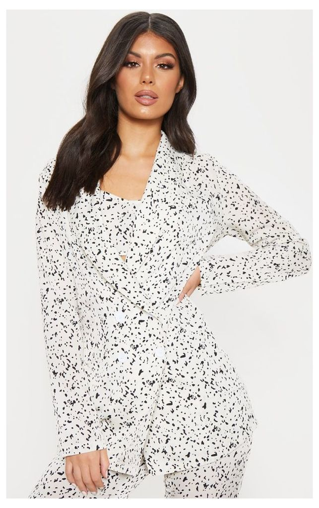 Cream Dalmatian Print Longline Woven Blazer, White