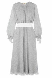 ARoss Girl x Soler - Amanda Belted Floral-print Silk-georgette Midi Dress - Gray