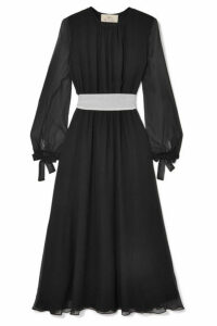ARoss Girl x Soler - Amanda Belted Silk-georgette Midi Dress - Black