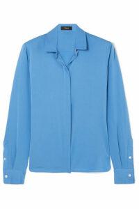 Theory - Stretch-silk Crepe De Chine Shirt - Light blue
