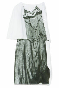 MM6 Maison Margiela - One-shoulder Printed Satin-jersey Dress - White