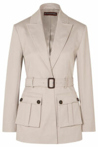 ALEXACHUNG - Belted Cotton-blend Drill Blazer - Stone