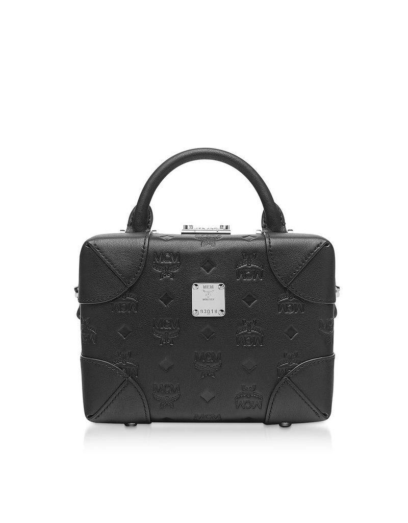 MCM Designer Handbags, Black Monogram Leather Soft Berlin Crossbody Bag