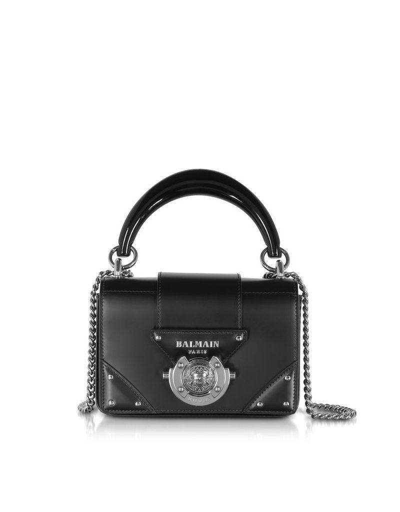 Balmain Designer Handbags, Leather Top Handle Mini Bag