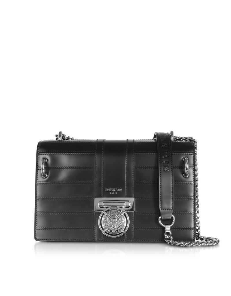 Balmain Designer Handbags, Black Leather Shoulder Bag