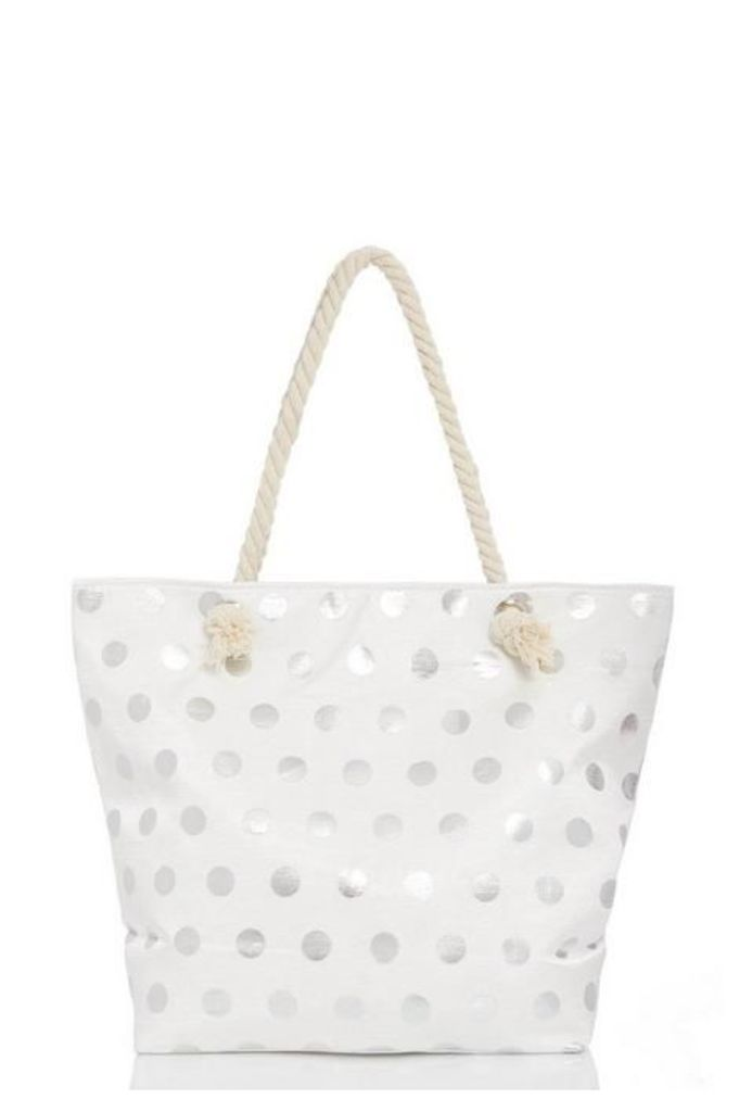 Quiz White Polka Dot Beach Bag