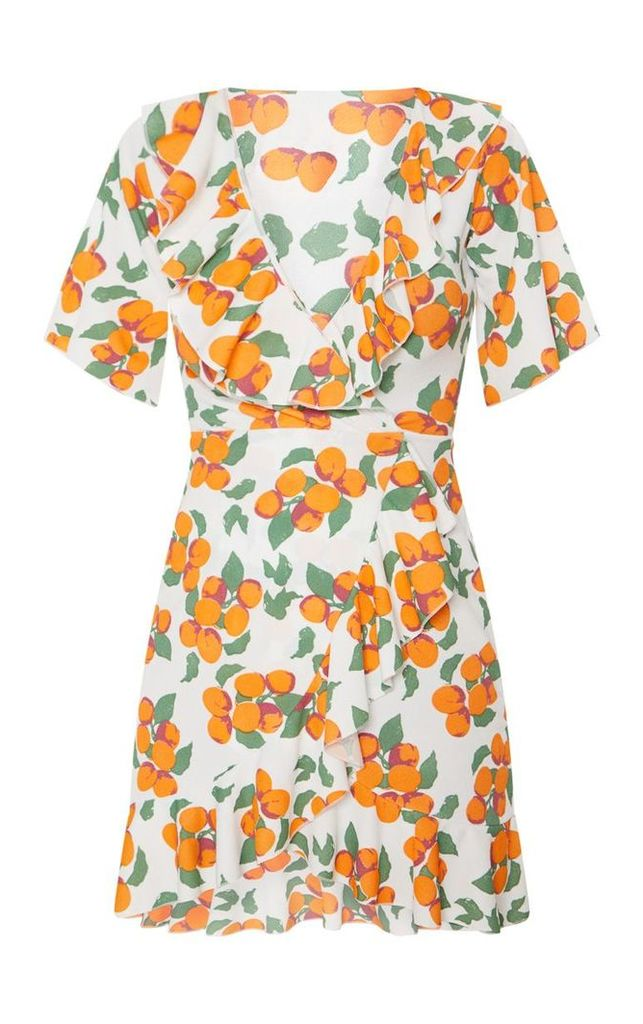 Orange Print Frill Wrap Over Tea Dress, Orange