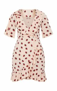 Nude Strawberry Print Frill Wrap Over Tea Dress, Pink