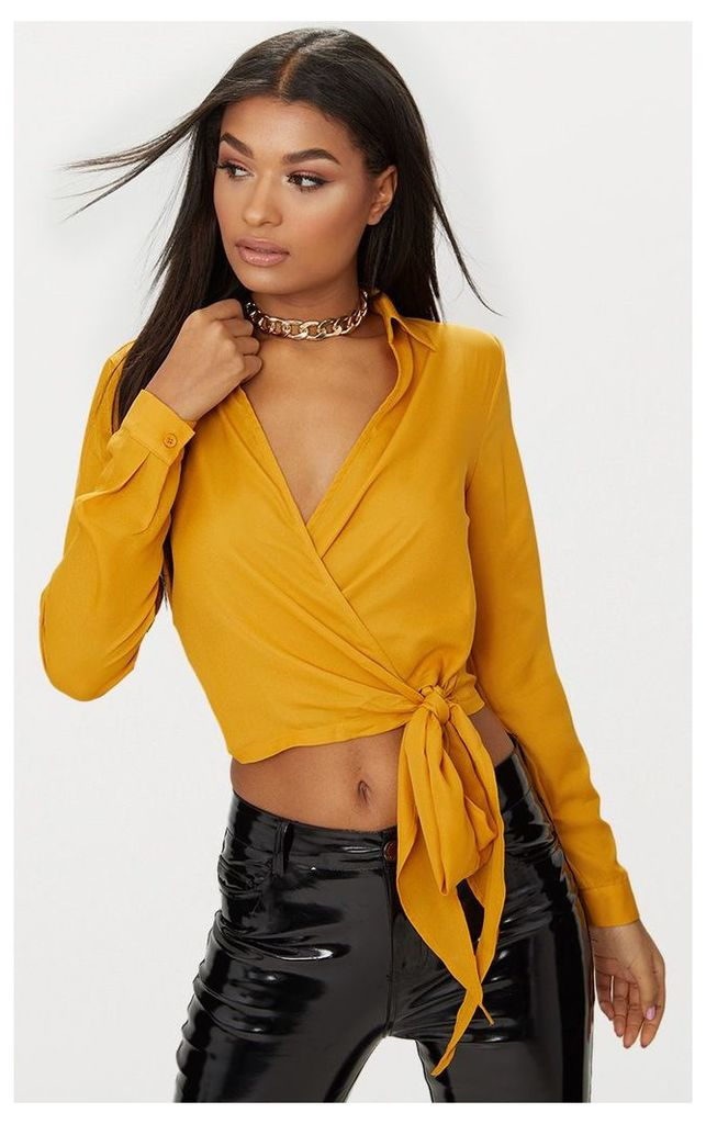 Mustard Avalyn Wrap Front Tie Side Blouse, Yellow