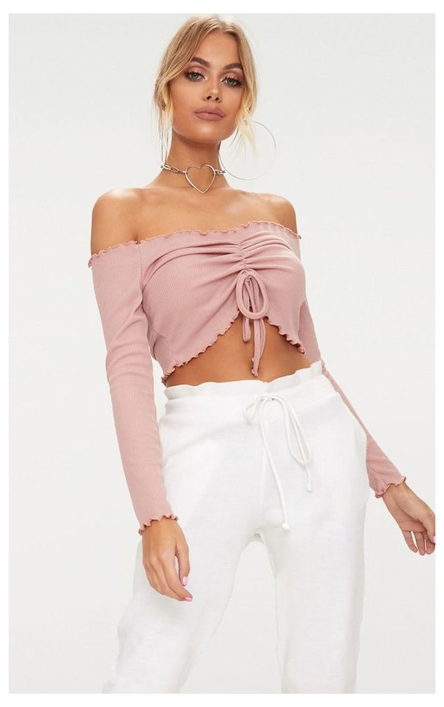Dusty Pink Frill Edge Tie Front Rib Crop Top, Dusty Pink