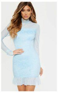 Dusty Blue High Neck Lace Long Sleeve Bodycon Dress, Blue