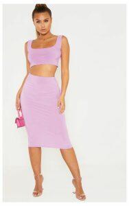 Lilac Second Skin Slinky Midi Skirt, Purple