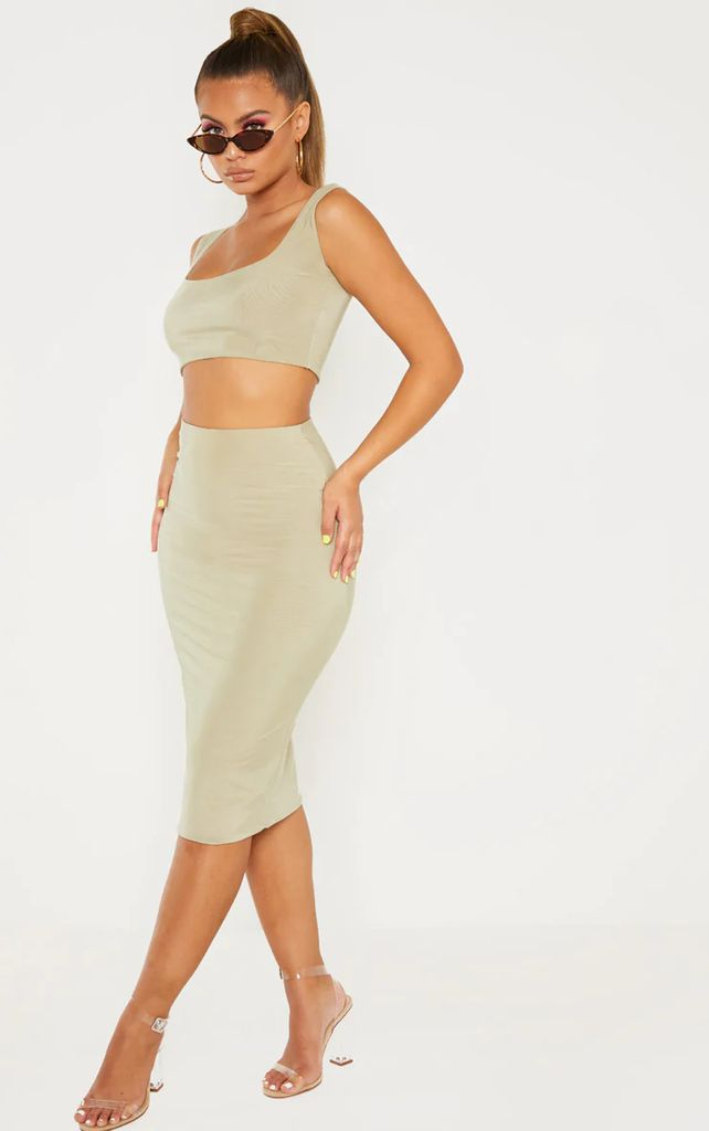 Sage Green Second Skin Slinky Midi Skirt, Sage Green