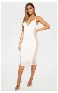 Nude Strappy Mesh Panel Lace Detail Midi Dress, Pink
