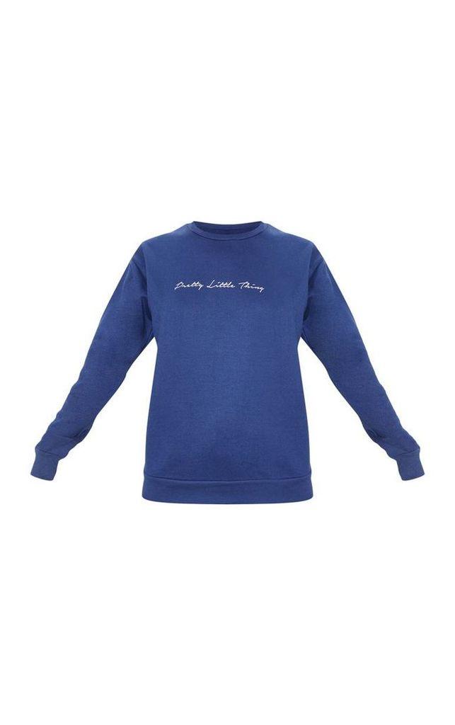 PRETYYLITTLETHING Navy Scribble Slogan Printed Sweater, Blue