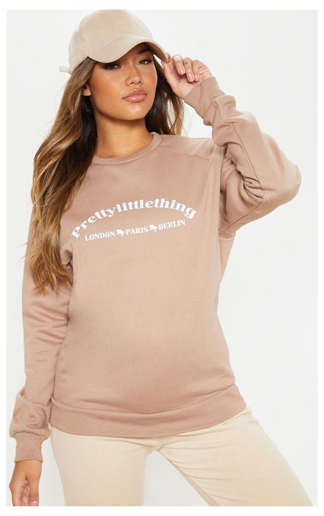 PRETTYLITTLETHING Taupe Europe Slogan Oversized Sweater, Brown