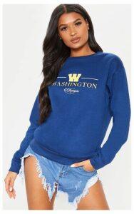 Navy Washington Olympia Slogan Oversized Sweater, Blue