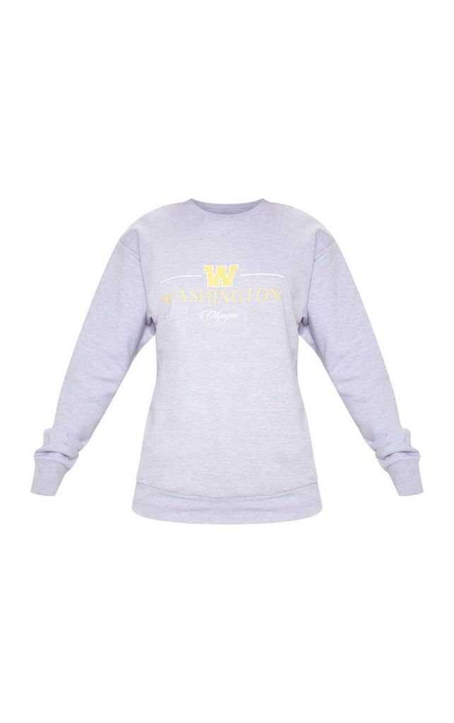 Grey Washington Olympia Slogan Oversized Sweater, Grey