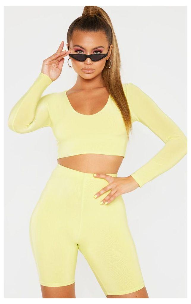 Light Lime Mix & Match Second Skin Long Sleeve V Neck Crop Top, Light Lime