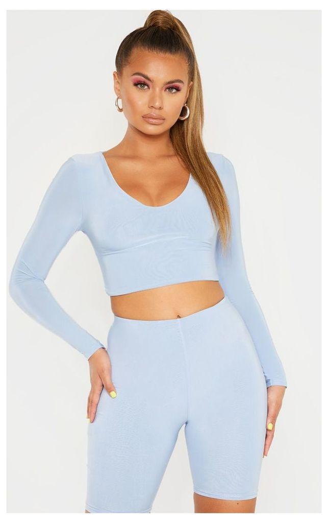 Baby Blue Mix & Match Second Skin Long Sleeve V Neck Crop Top, Blue