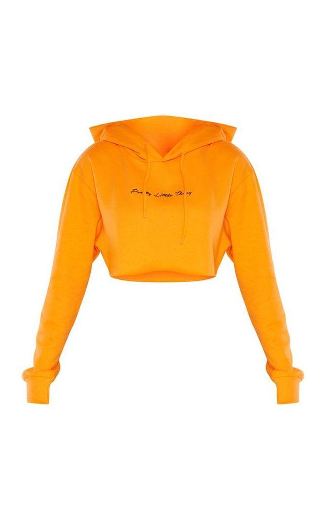 PRETTYLITTLETHING Tall Orange Embroidered Crop Hoodie, Orange
